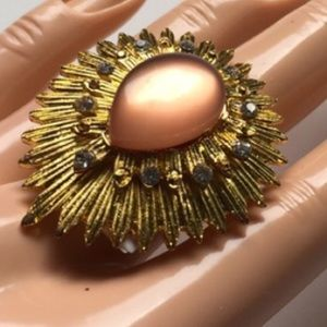 NEW gold peach gemstone adjustable ring jewelry